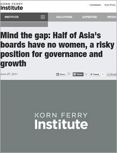 Mind The Gap: Half of Asia's Boards Have No Women, a Risky Position for Governance and Growth