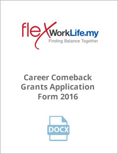 Career Comeback Grants Application Form 2016